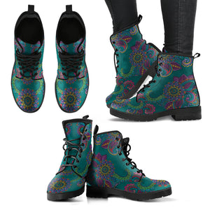 Turqouise Paisley Mandala Handcrafted Women's Vegan-Friendly Leather Boots
