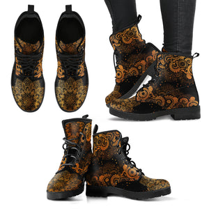 Rusty Gold Paisley Mandala Handcrafted Women's Booties Vegan-Friendly Leather Boots