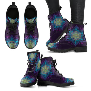 Purple Gold Mandala Handcrafted Women's Vegan-Friendly Leather Boots