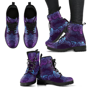 Purple Paisley Mandala Handcrafted Women's Boots Vegan-Friendly Leather Booties