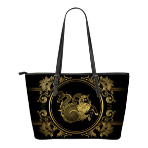 Capricorn Zodiac Star Sign Small Leather Tote Bag - Freedom Look