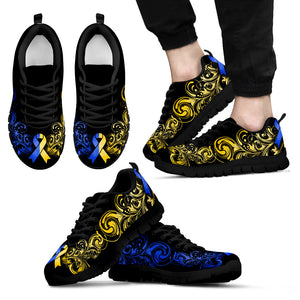 Down Syndrome Awareness - Shoes - Black Men's Sneakers