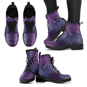 Purple YinYang Mandala Handcrafted Women's Vegan-Friendly Leather Boots