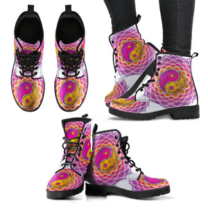 YinYang Pink Gold Mandala Handcrafted Women's Vegan-Friendly Leather Boots