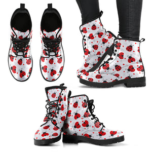 Cute Ladybugs Women's Leather Boots - Freedom Look