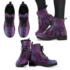 Purple Dream Catcher Handcrafted Women's Vegan-Friendly Leather Boots