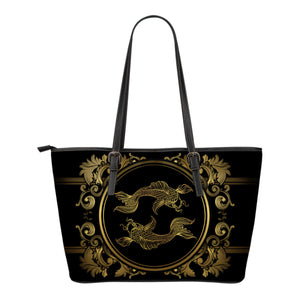 Pisces Zodiac Medium-Large Leather Tote Bag