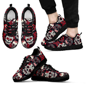 Sugar Skull Red and Black Shoes - Men's Sneakers - Christmas Birthday Gift