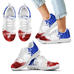 France Flag - White Kid's Sneakers - Christmas Birthday Gift