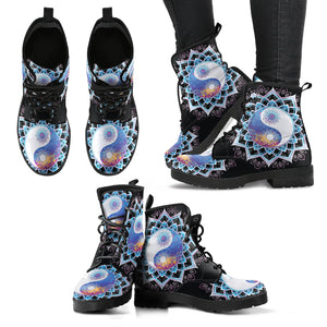 Yin Yang Black Blue Mandala Handcrafted Women's Vegan-Friendly Leather Boots