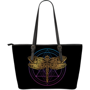 Golden Dragonfly Large Leather Tote - Freedom Look