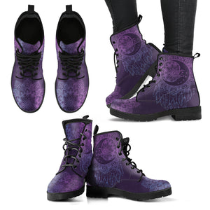 Purple Moon Dream Catcher Handcrafted Women's Vegan-Friendly Leather Boots