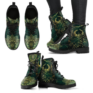 Owl - Green and Yellow Handcrafted Women's Vegan-Friendly Leather Boots