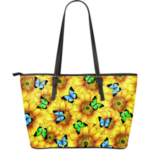 Large Premium Sunflower Butterfly Tote Bag - Freedom Look