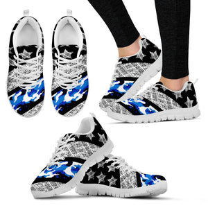 Thin Navy Line - Shoes - White Women's Sneakers