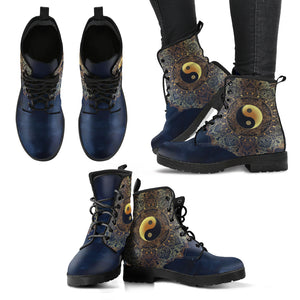Yin Yang Mandala Handcrafted Women's Vegan-Friendly Leather Boots