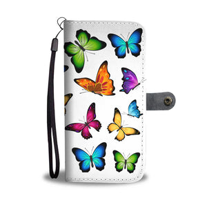 Colorful Butterflies White Bg Phone Wallet Case