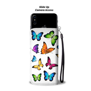 Colorful Butterflies White Bg Phone Wallet Case - Freedom Look
