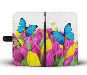 Butterfly Tulips Phone Wallet Case - Freedom Look