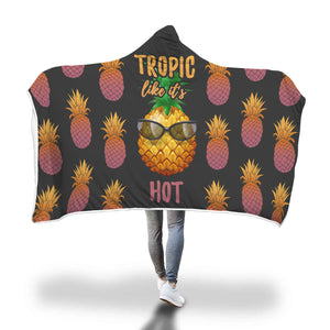 Tropic Like It's Hot Pineapple Hooded Blanket