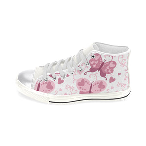 High & Low Top Canvas Women's Shoes - Pink Butterfly With Hearts - Freedom Look