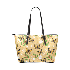 Butterflies With Flowers And Plants  Leather Tote Bag - Freedom Look