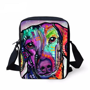 Colorful Dachshund Printed Messenger Bag - 2017 Style - Freedom Look