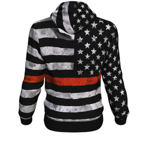 Red Line US Flag Firefighter Hoodie