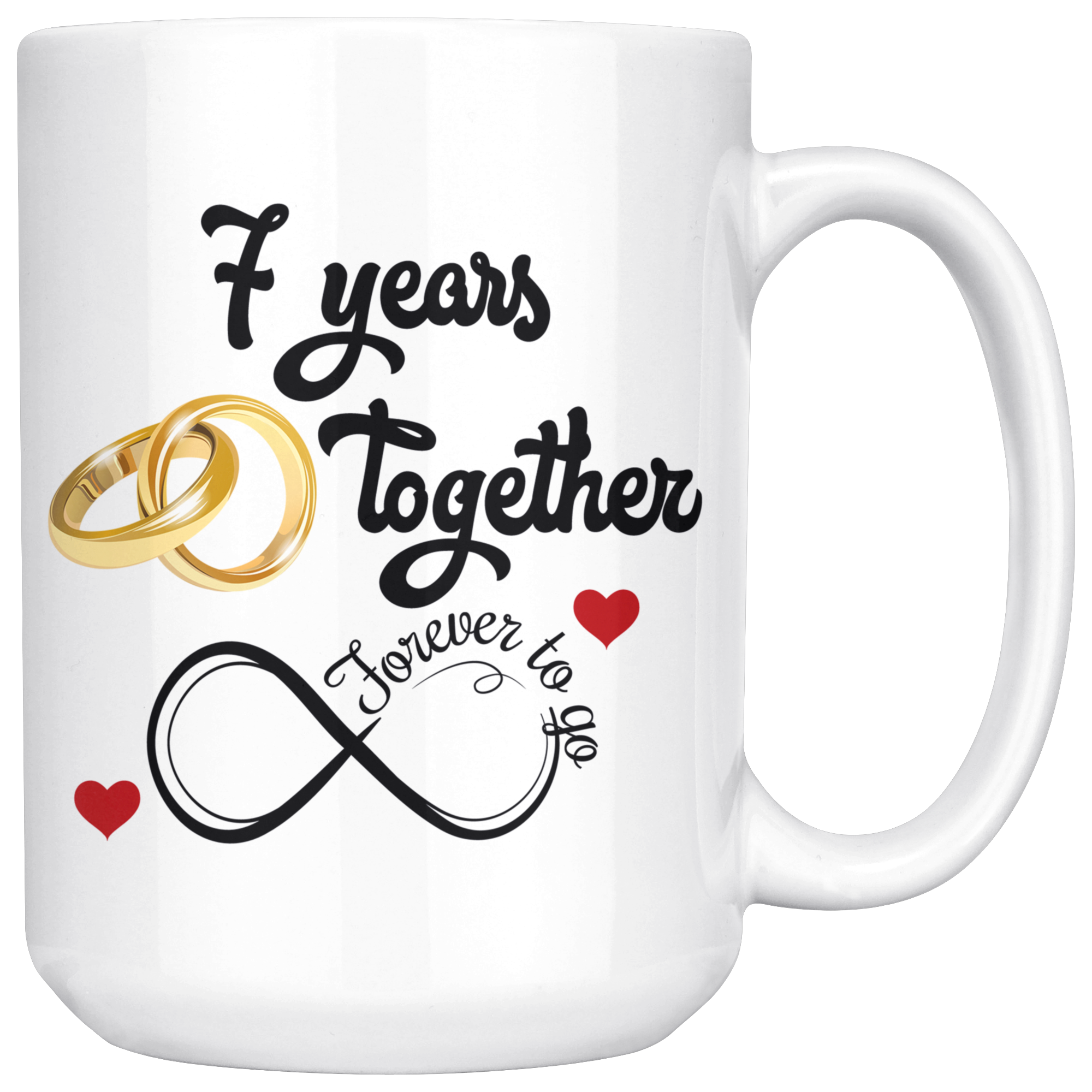 7th Wedding Anniversary.7th Wedding Anniversary Gift For Him And Her 7th Anniversary Mug For Husband Wife 7 Years Together Married 7 Years 7 Years With Her 15 Oz