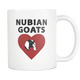 Nubian Goat Heart Coffee Mug - Nubian Goats Owner Gifts - I Like & Love My Goats Coffee Cup - Great Goat Gift For Men And Women (11 oz)