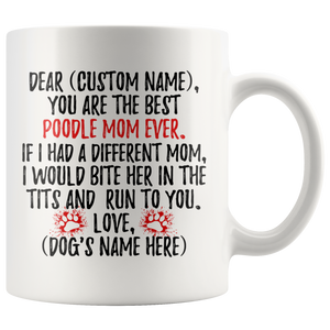 Personalized Best Poodle Mom Coffee Mug (11 oz)