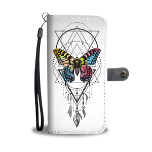 White Butterfly Feather Phone Wallet Case