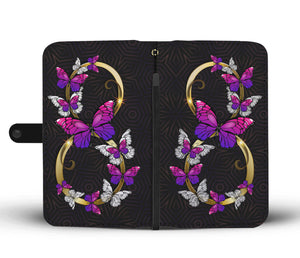 Premium Hand-Crafted Rose Purple Infinity Butterfly Phone Case + Wallet