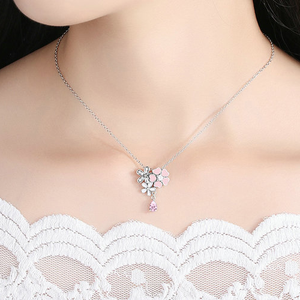925 Sterling Silver Pink Flower Necklace - Freedom Look