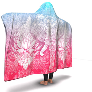 Blue & Red Elephant Mandala Hooded Blanket - Freedom Look