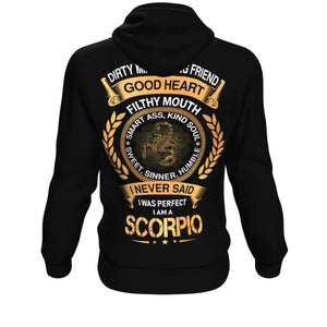 Born In Scorpio Sign Dirty Mind Hoodie (Small Scorpio) - Freedom Look