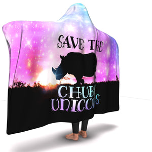 Save The Rhinos (Chubby Unicorns) Hooded Blanket