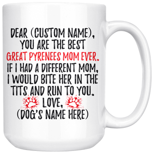 Personalized Best Great Pyrenees Dog Mom Coffee Mug (15 oz)