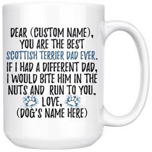 Personalized Best Scottish Terrier Dad Coffee Mug (15 oz)