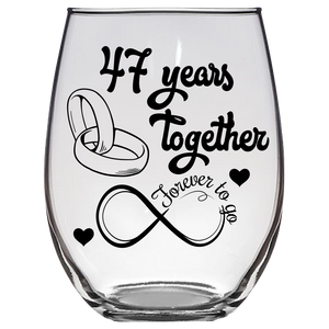 FTG - 47th Wedding Stemless Wine Glass (Laser Etched)