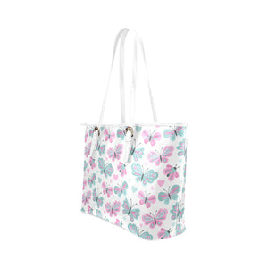 Pink & Blue Butterflies Leather Tote Bag - Freedom Look