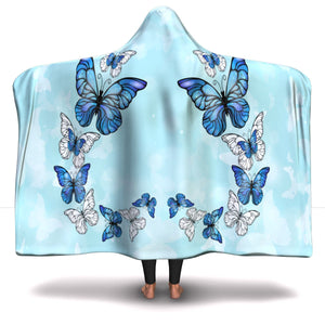 Morpho Butterfly Blue Hooded Blanket (SB)