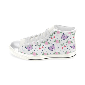 High & Low Top Canvas Women's Shoes - Purple and Pink Butterflies - Freedom Look
