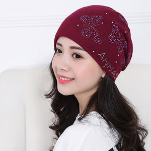 Autumn And Winter Beanie Hat with Butterfly Diamonds - Freedom Look