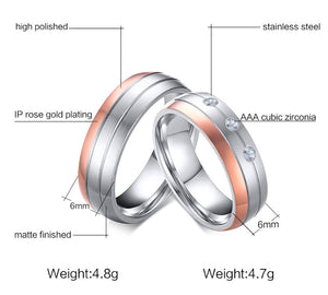 Crystal Zircon Rose Gold Ring - Stainless Steel - Freedom Look