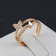 Resizable Butterfly Rose Gold and Platinum Plated Ring - Freedom Look
