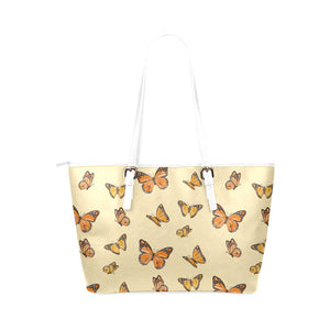 Orange Butterflies Leather Tote Bag - Freedom Look