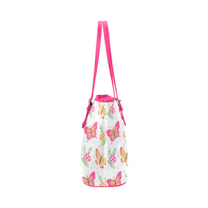 Pink Butterflies With Flowers Leather Tote Bag - Freedom Look