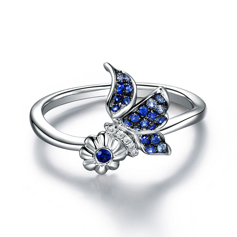 Sterling Silver Butterfly Ring with Flower Promise | Freedom Look