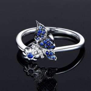 Sterling Silver Butterfly Ring with Flower Promise - Freedom Look